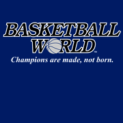 "Front Design: 13"" x 5"" Basketball World Logo Sleeve Design: 4"" x 3"" Shooter Color: Navy Blue Sizes: Adult S, M, L, XL, XXL"
